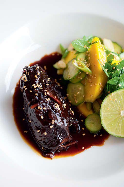 Sweet Soy Braised Beef Cheeks With Mango Salad The Happy Foodie Recipe Braised Beef Beef Cheeks Braised