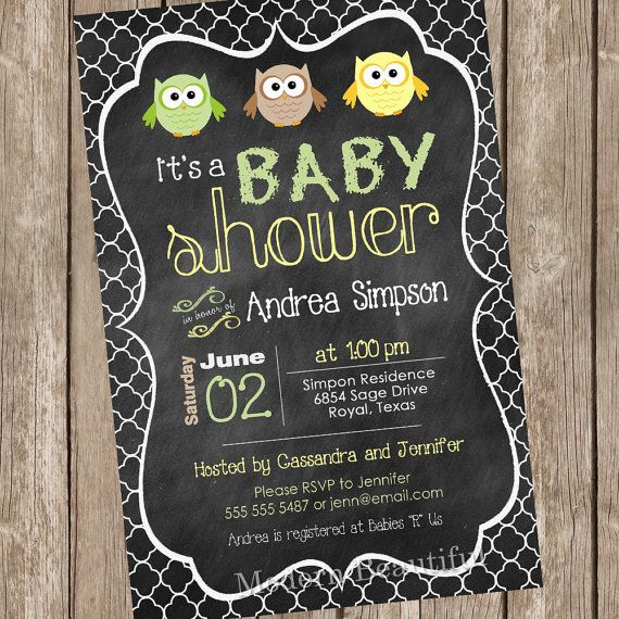 Pastel Owl Chalkboard Baby Shower Invitation Owl Invitation