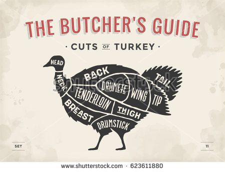 vintage typographic hand drawn turkey silhouette for butcher shop restaurant menu graphic design meat poultry theme vector illustration