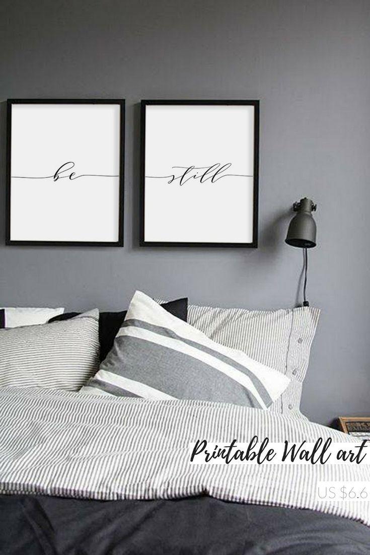 be still print minimalist typography art bedroom print be still