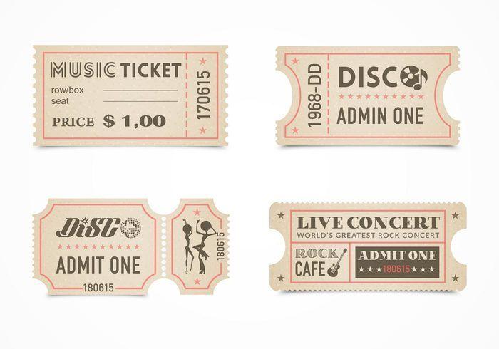 Free Retro Concert Ticket Stub Vector Set Less than $10 - free concert ticket template