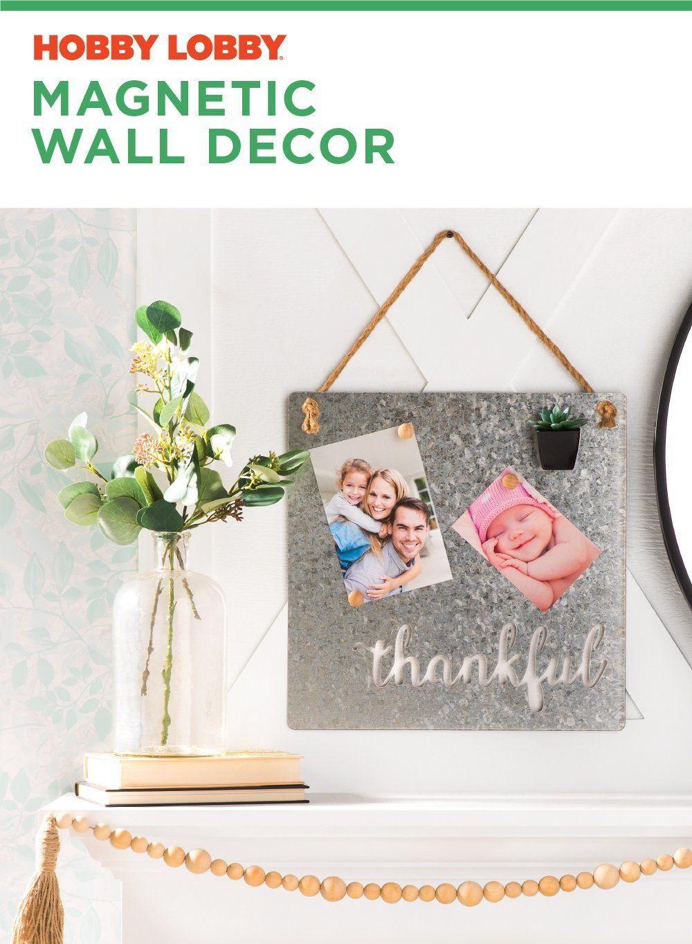 Personalize This Galvanized Magnetic Wall Decor With Pictures Of The Ones You Love Whatyoumakeit Wall Decor Pictures Mirror Wall Art Wall Decor