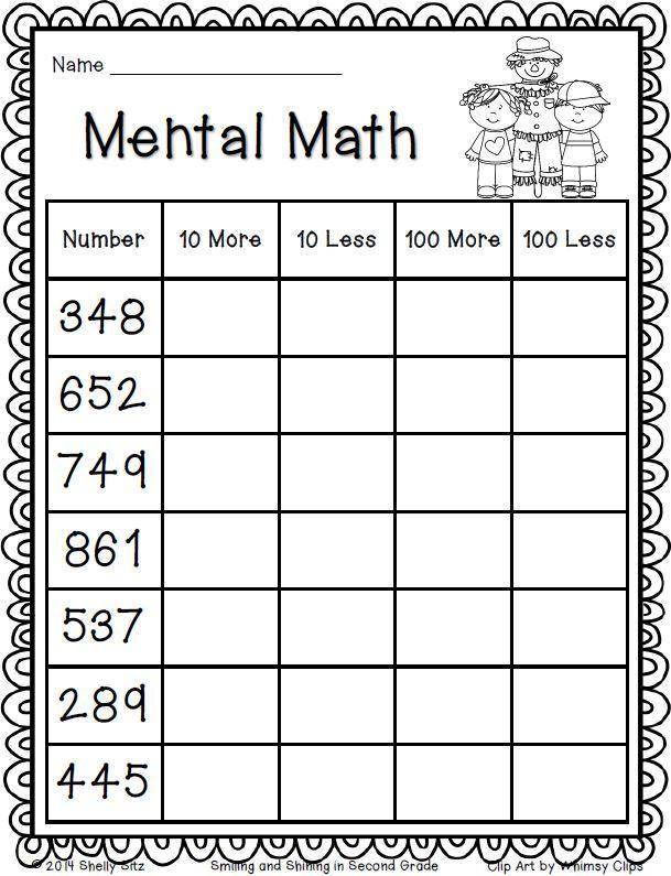 Fall Math Mental Math 2nd Grade Math Free Math For Second Grade Math Freebie 2nd Grade Math 3rd Grade Math
