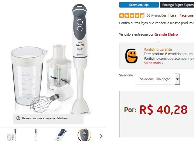 Mixer Philips Walita Viva Collection RI1364 Tecnologia Pro Blend 4 - 400W << R$ 4028 >>