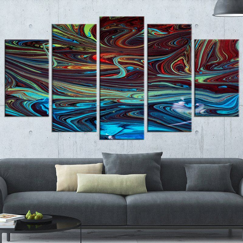 Designart Red Blue Abstract Acrylic Paint Mix 5 Piece Wall Art On Wrapped Canvas Set Wayfair Abstract Painting Acrylic Abstract Acrylic Blue Abstract