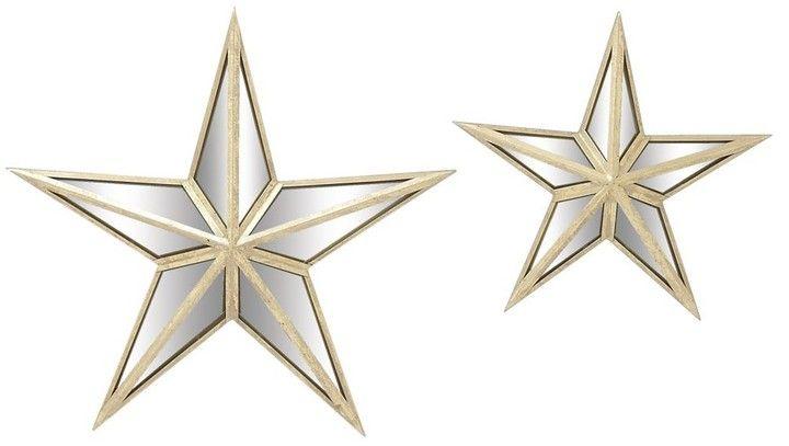 Uma Cream Mirror Mirrored Star Wall Decor 2 Piece Set