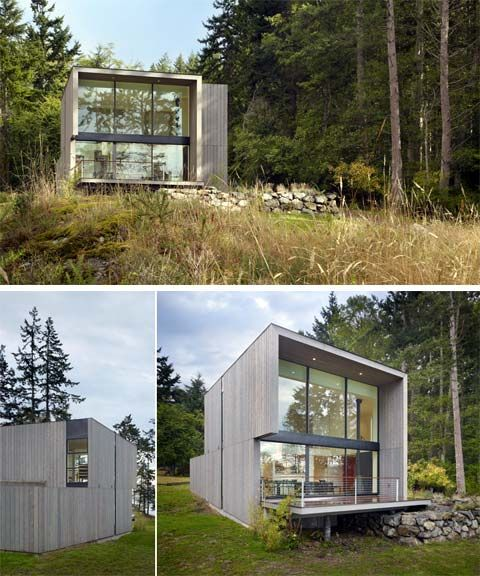 This modern prefab cabin sits in a beautiful location on