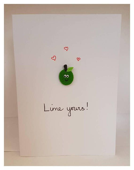Handmade quirky 'Lime yours!' / Love / Greeting card ...