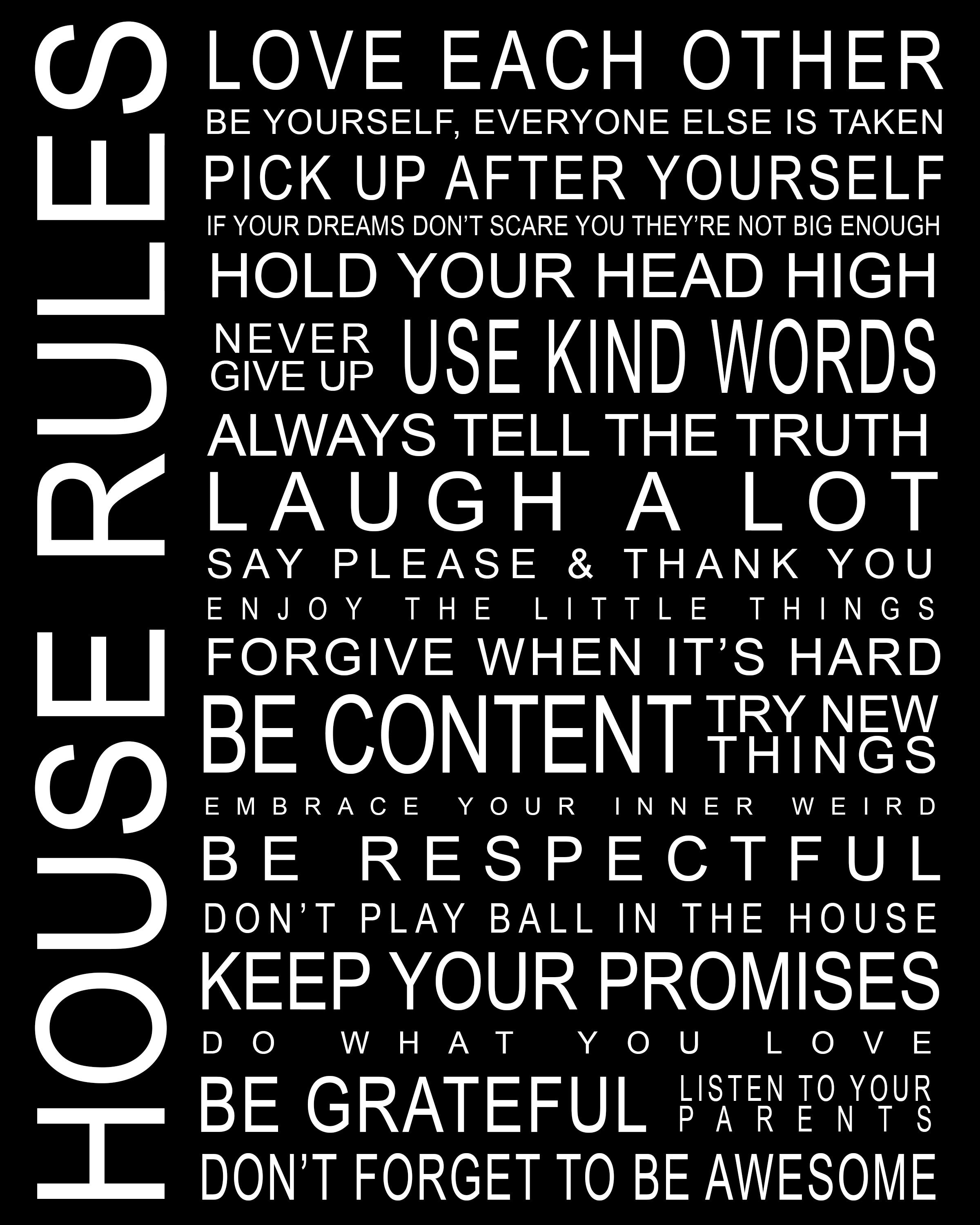 House Rules, Family Rules Printable