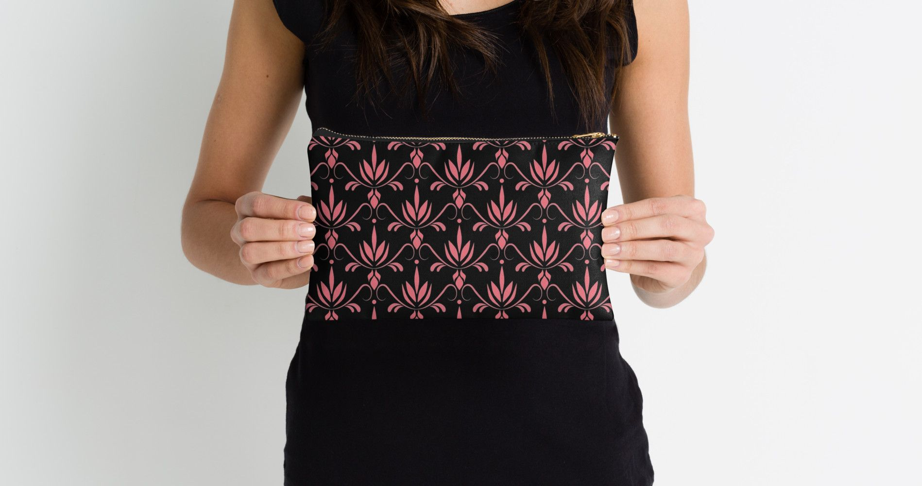 """""""Lotus"""" Studio Pouches by Lelyely   Redbubble #pouches #pattern #lotus #lelyely #pink"""