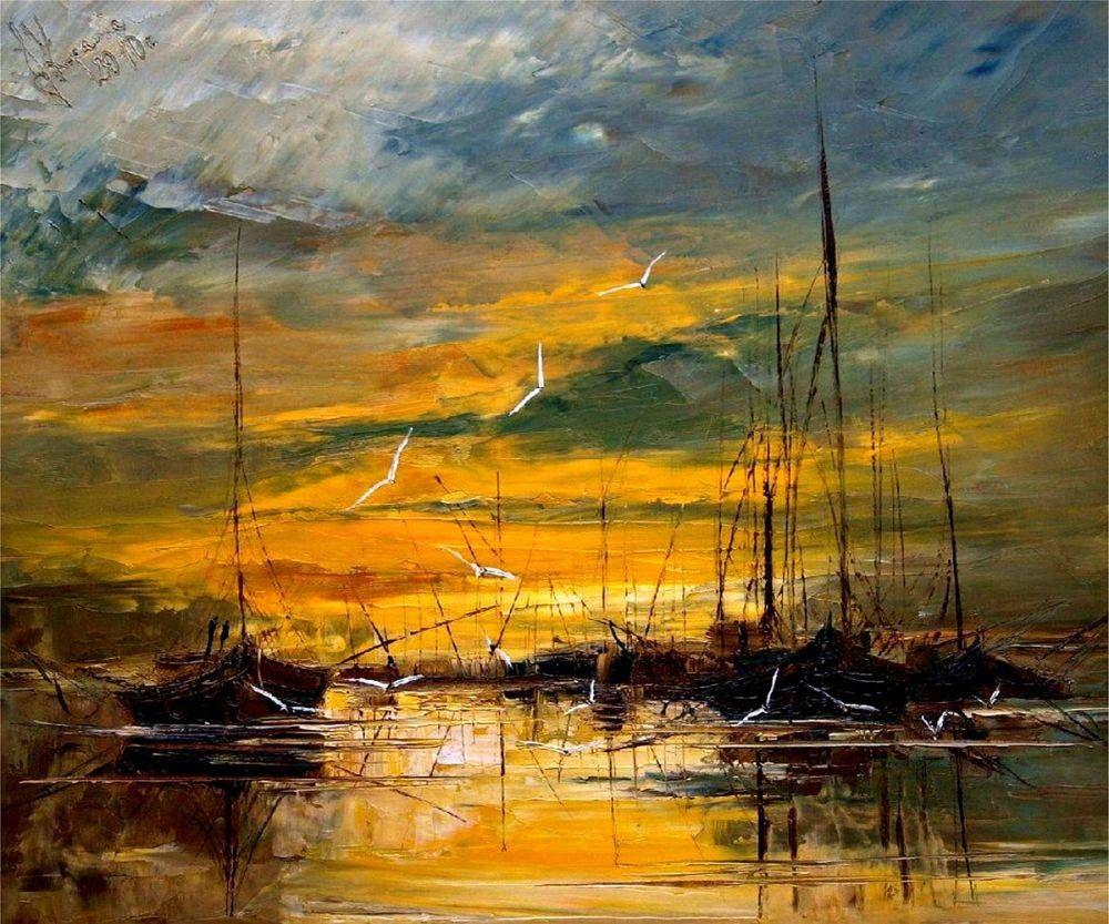 Kopania harbour glow hiend print on canvas at