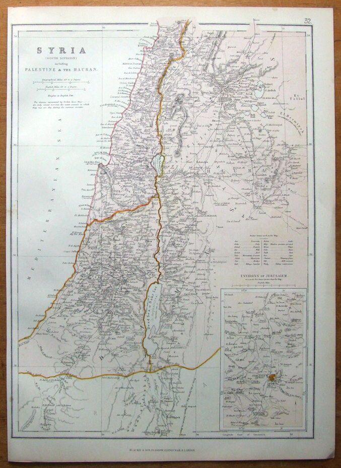 Israel Siria Palestina Blackie antiguo mapa 1882