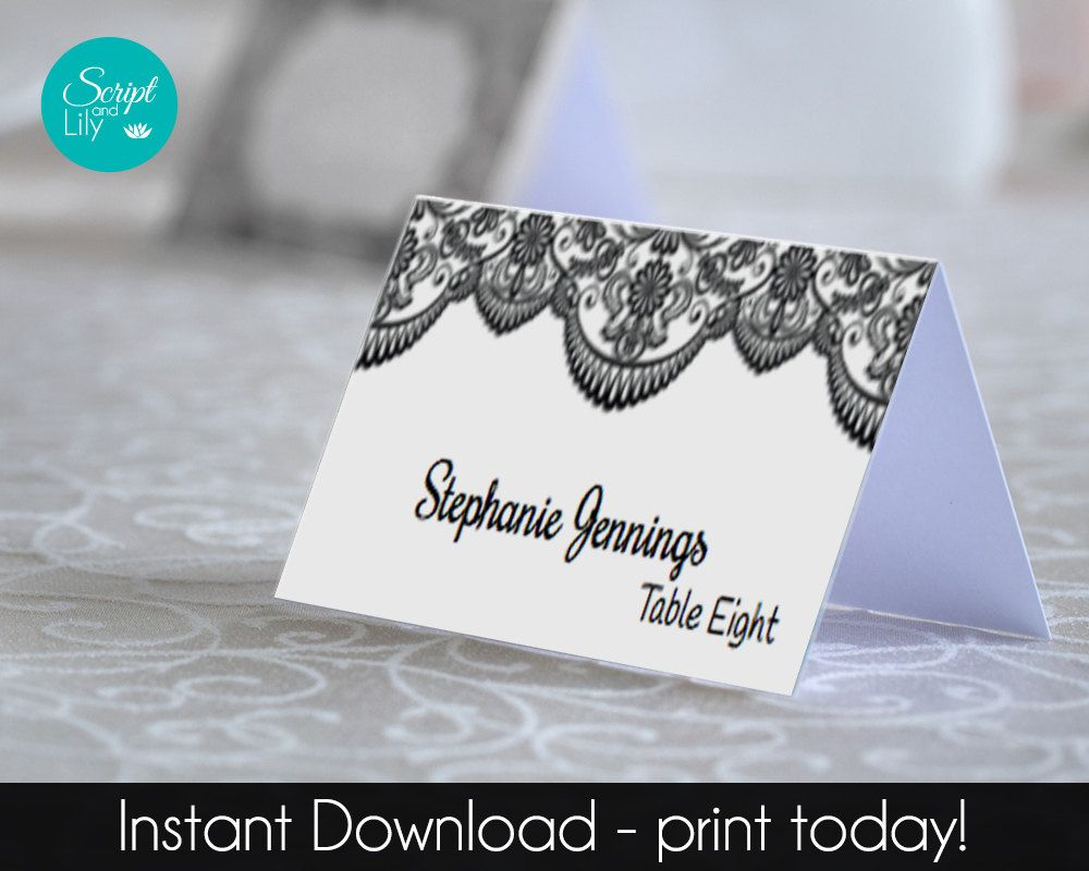 black and white  lace place name cards template  instant