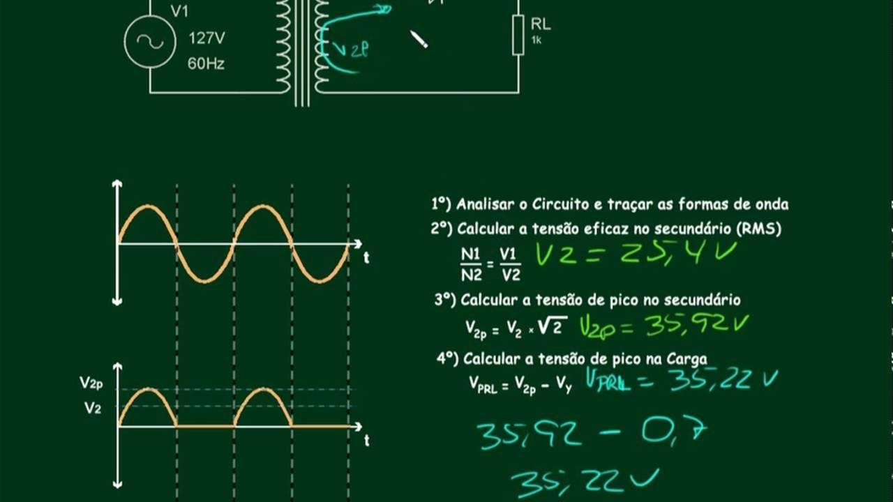 Circuito Retificador : Eletrônica básica retificadores meia onda cálculos aula