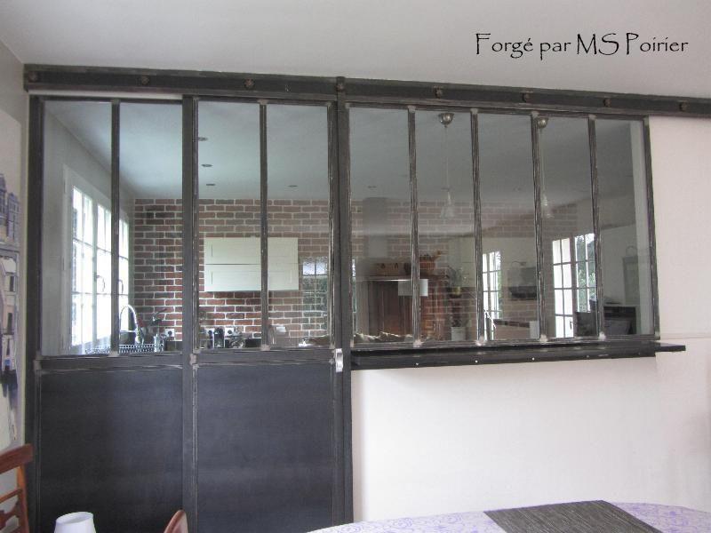 Cloison s paration cuisine salon coulissante type atelier for Separation vitree cuisine salon