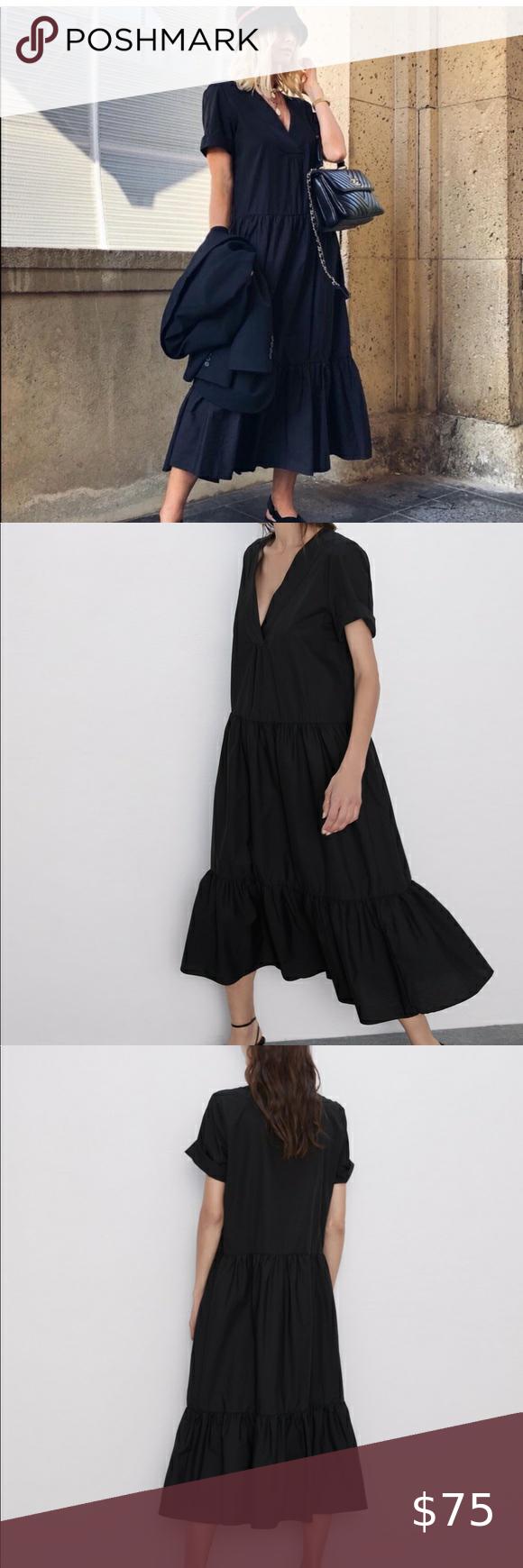 Zara Black Ruffled Poplin Dress Size Extra Large   Poplin dress ...