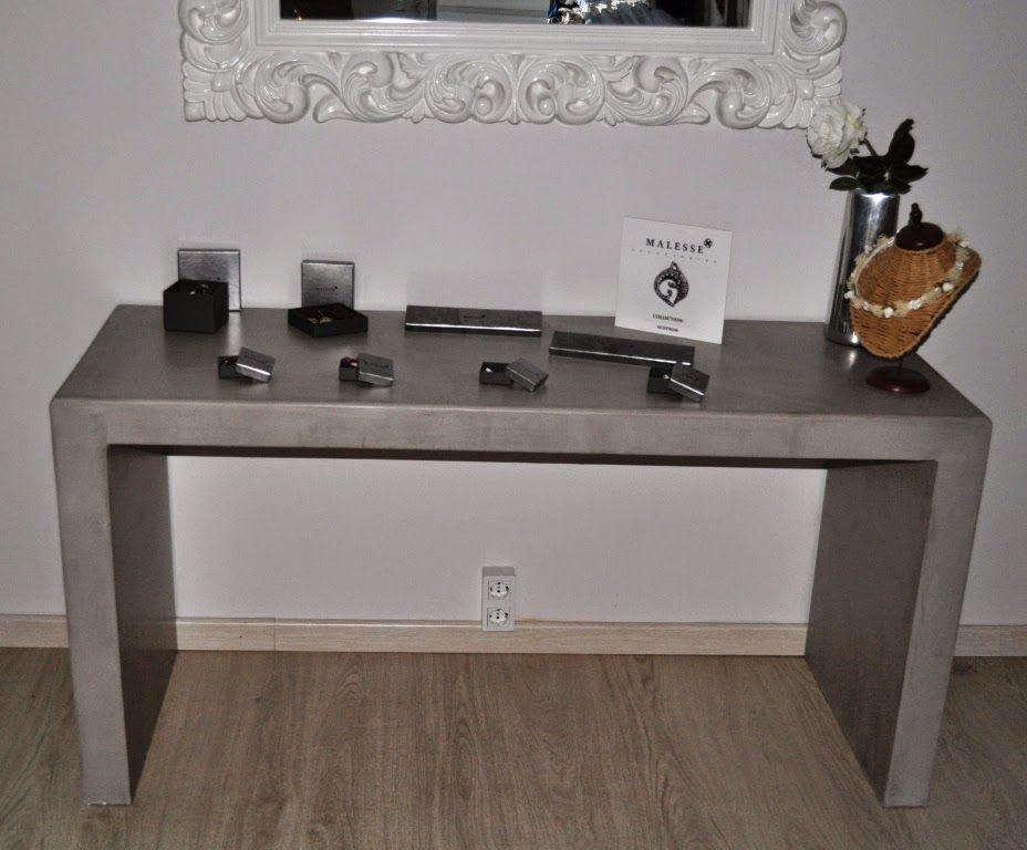 Mesa Recibidor Microcemento Gris Muebles Microcemento Pinterest - Mesa-de-recibidor