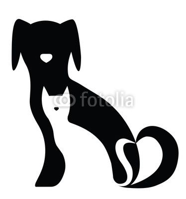 Funny Dog And Cat Silhouettes Composition Cat Silhouette Cat And Dog Tattoo Dog Tattoos