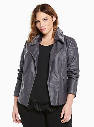 Lace Up Back Faux Fur Collar Moto Jacket, NINE IRON