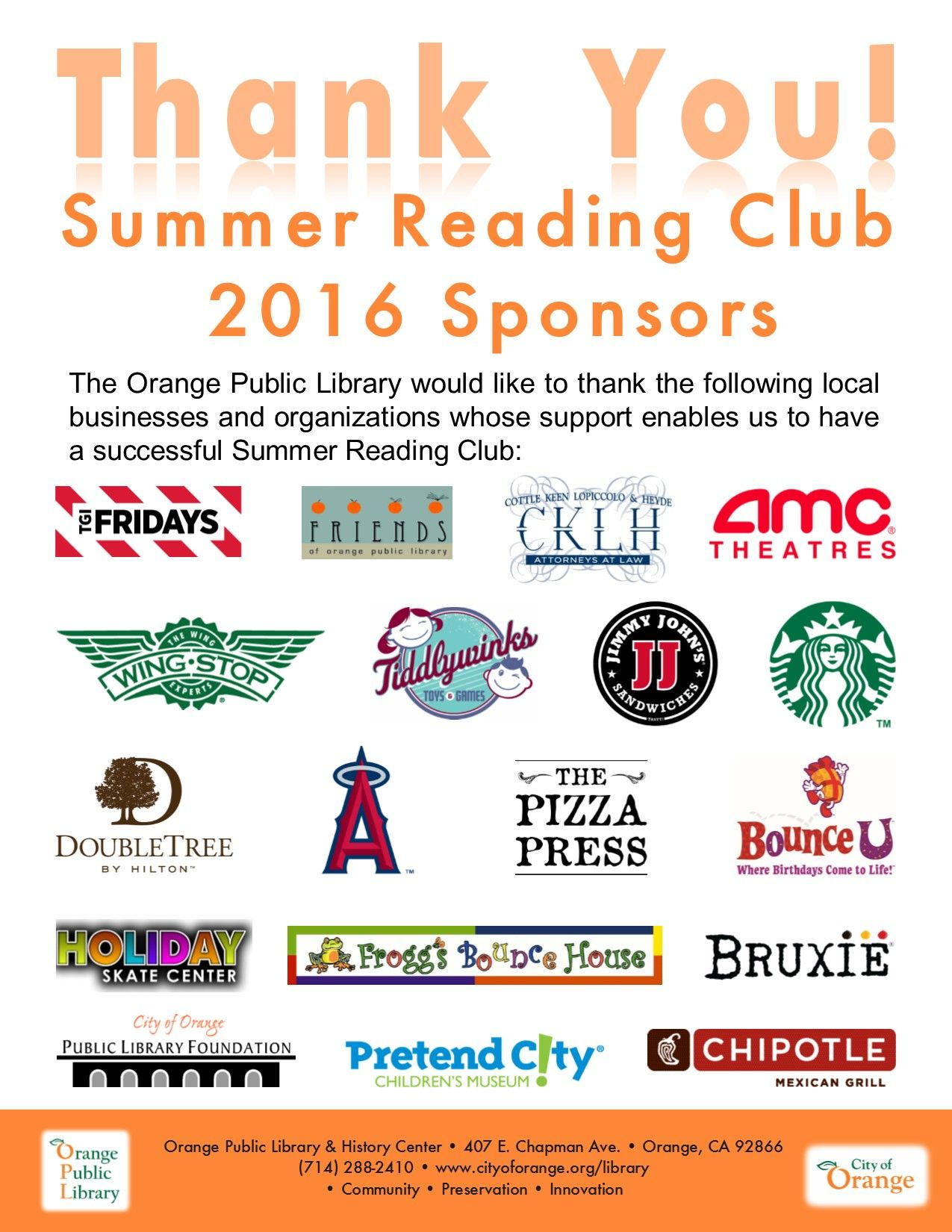 Thank You Summer Reading Club 2016 Sponsors Summer Reading