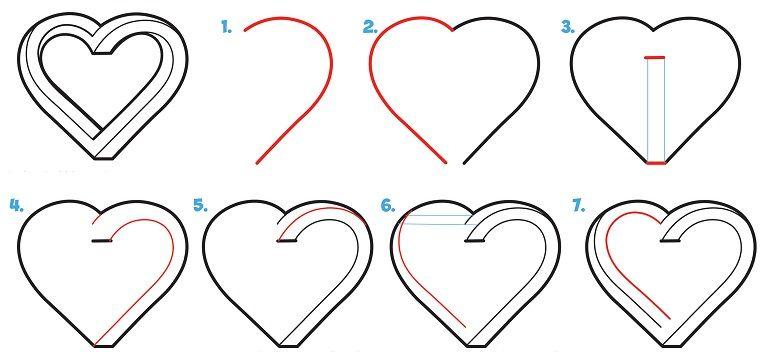 come disegnare un cuore disegni facili da disegnare a