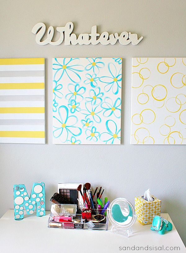 Easy diy canvas wall art yellow gray turquoise diy wall for Easy canvas wall art ideas