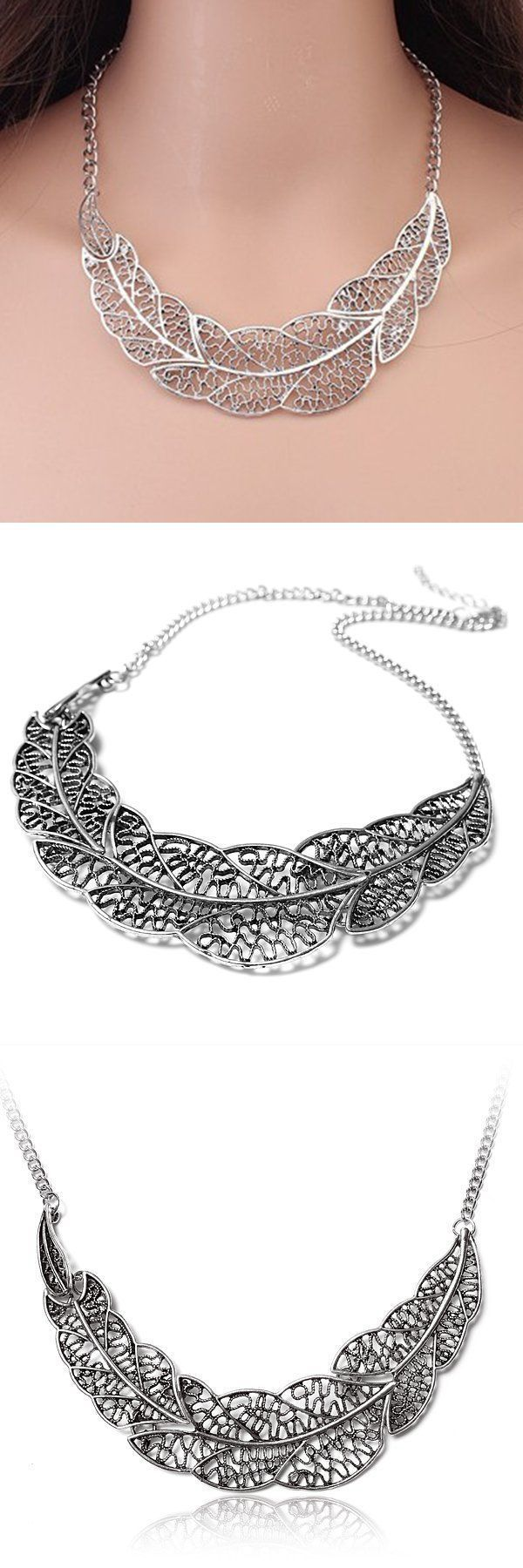 Necklaces with key pendants vintage silver hollow leaf statement necklaces with key pendants vintage silver hollow leaf statement collar chain pendant necklace inspirational aloadofball Choice Image