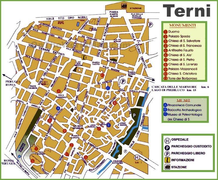Terni tourist map   Maps   Pinterest   Tourist map, Italy and City