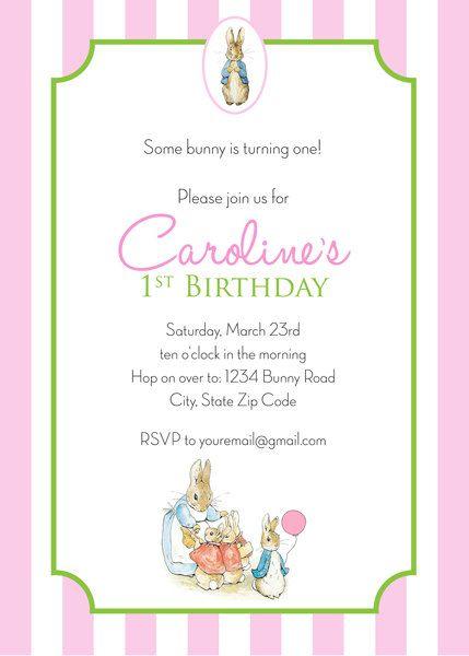 Peter Rabbit Birthday Invitation Girl Personalized Printable