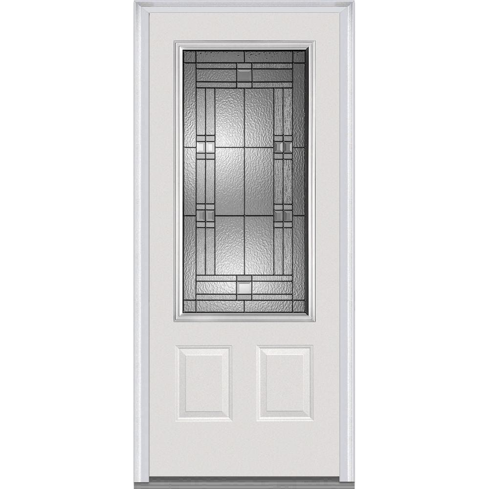 Mmi Door 36 In X 80 In Roman Right Hand Inswing 3 4 Lite Decorative 2 Panel Primed Fiberglass Smooth Prehung Front Door Z021438r The Home Depot Prehung Doors Front Door Entry Doors With Glass