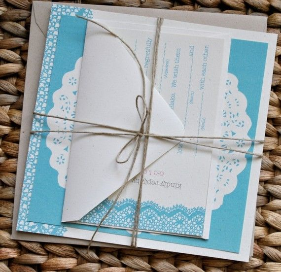 Lace Doily Wedding Invitation Suite with Twine Belly Band/Tie - Craft brown and ivory, aqua and pink