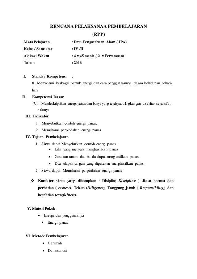 Rencana Pelaksanaa Pembelajaran Rpp Mata Pelajaran Ilmu Pengatahuan Alam Ipa Kelas Semester Iv Iialokasi Wakt Words Ipa Microsoft Excel