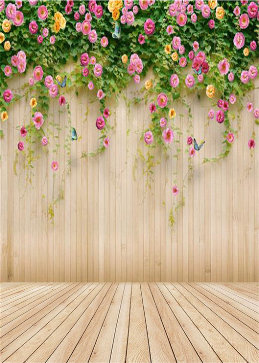 Flower and Wooden Board Wedding Baby Photography Background Custom Photography Studio Photography Background