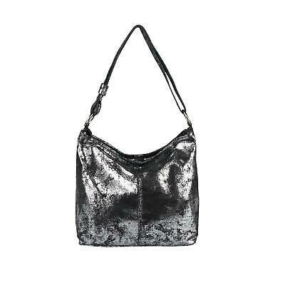 ITALy DAMEN LEDER HAND-TASCHE SILBER METALLIC Shopper Schultertasche LEDERTASCHE: EUR 54,95End Date: 16. Sep.… #tasche #backpack #Rucksack #metallicleather