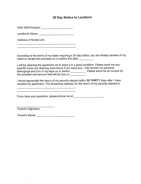 Printable Sample 30 Day Notice To Landlord Form Being A Landlord 30 Day Eviction Notice Move Out Notice