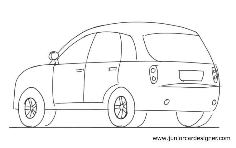 Car Drawing Tutorial Hatchback 3/4 Rear View   Car Drawing For Kids   Pinterest   Car Drawings ...