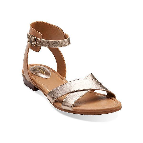 Clarks Viveca Zeal Clarks- Gold Leather sandals
