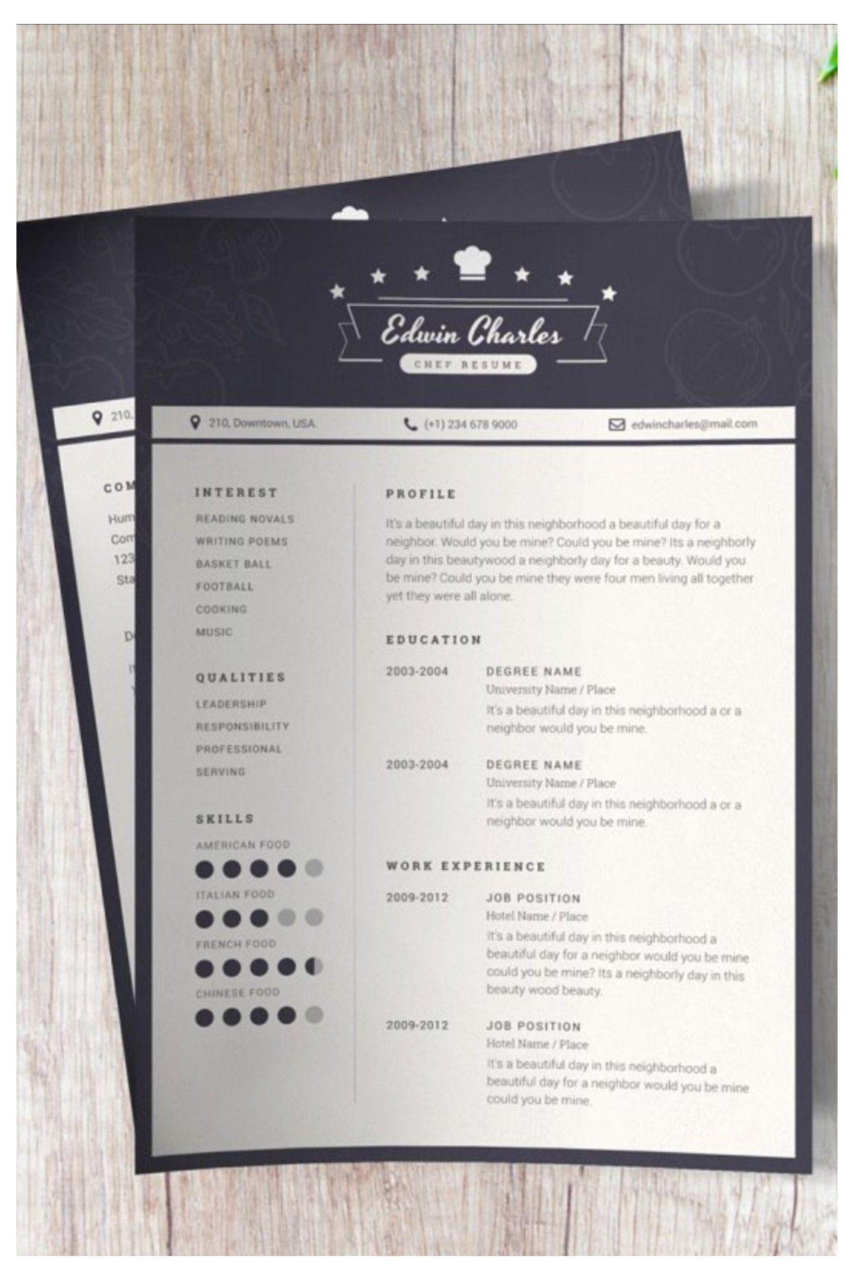 Pin By Daniela Valdivia Guillen On Chef Cv Template Chef Resume Templates