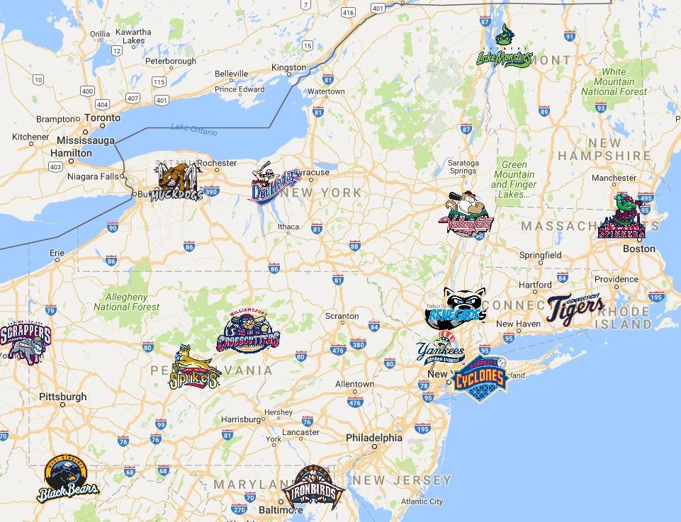 Minor League Baseball Map New York Penn League Map | Minor League Baseball  Past and Present