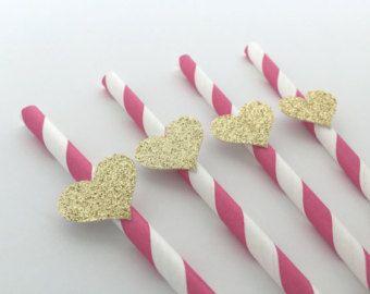 10 Cupcake Toppers de cupcake de corazón en blush y oro. Elegante Topper para boda, novia o ducha de bebé, fiestas de cumpleaños