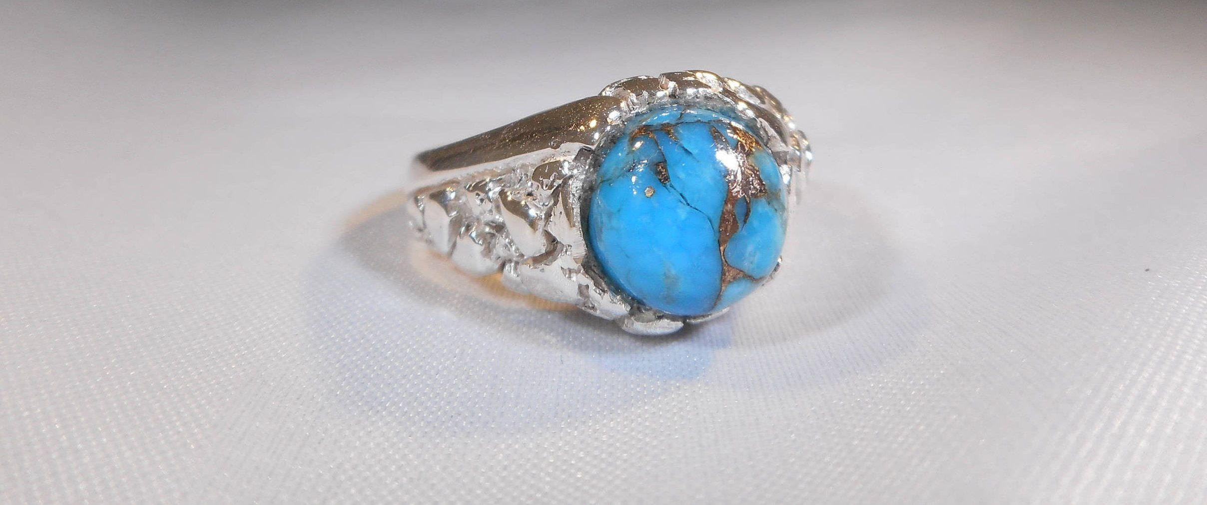 Natural Copper Turquoise Sterling Silver Ring|Kingman ...