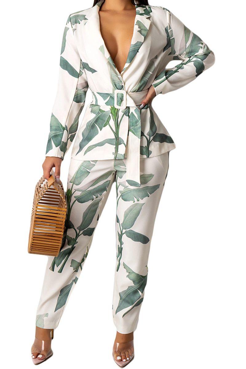 Two Piece  LeafJacket Pant Suit Set  #businesscasualoutfitsforwomenyou...
