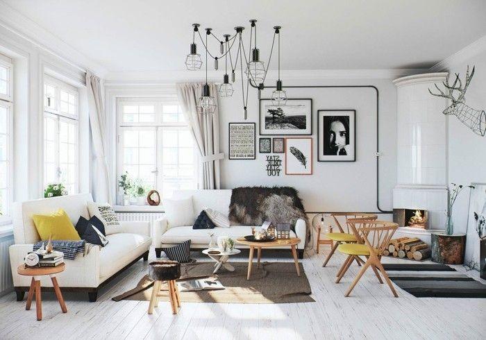 Wohnzimmer Einrichten Ideen Skandinavisch Wohnen Wohnzimmer Einrichten  Wandbilder Lange Gardinen Holzboden