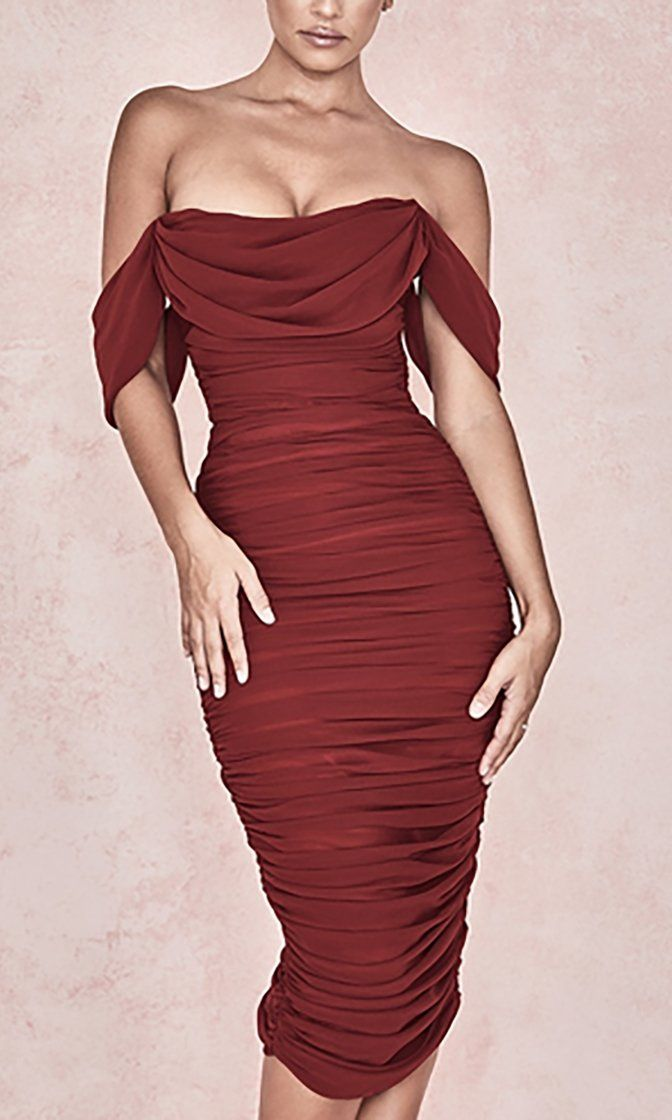 Queen Of Hearts Burgundy Short Sleeve Off The Shoulder Draped Ruched Bodycon Midi Dress #fashiondresses