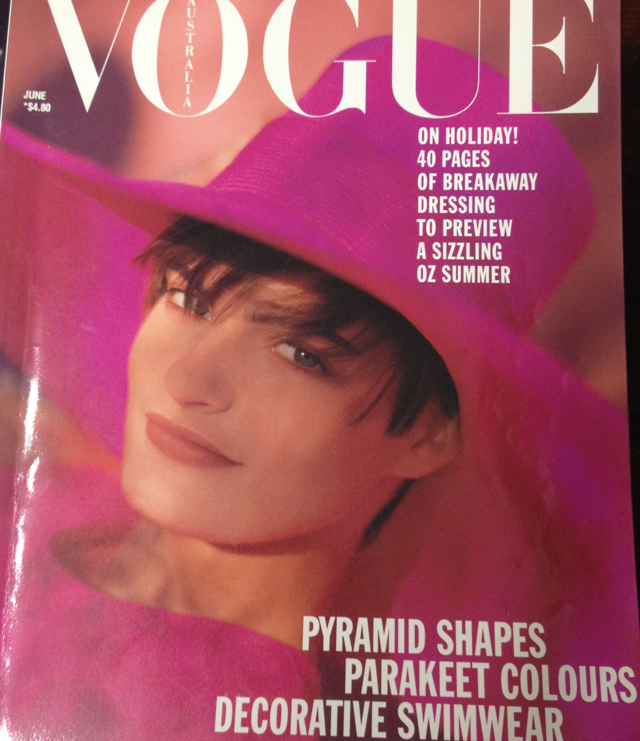 Love this cover.  Vogue Australia June 1989.  Photo by Monty Coles.  Linda Jackson dress.  Moray hat.
