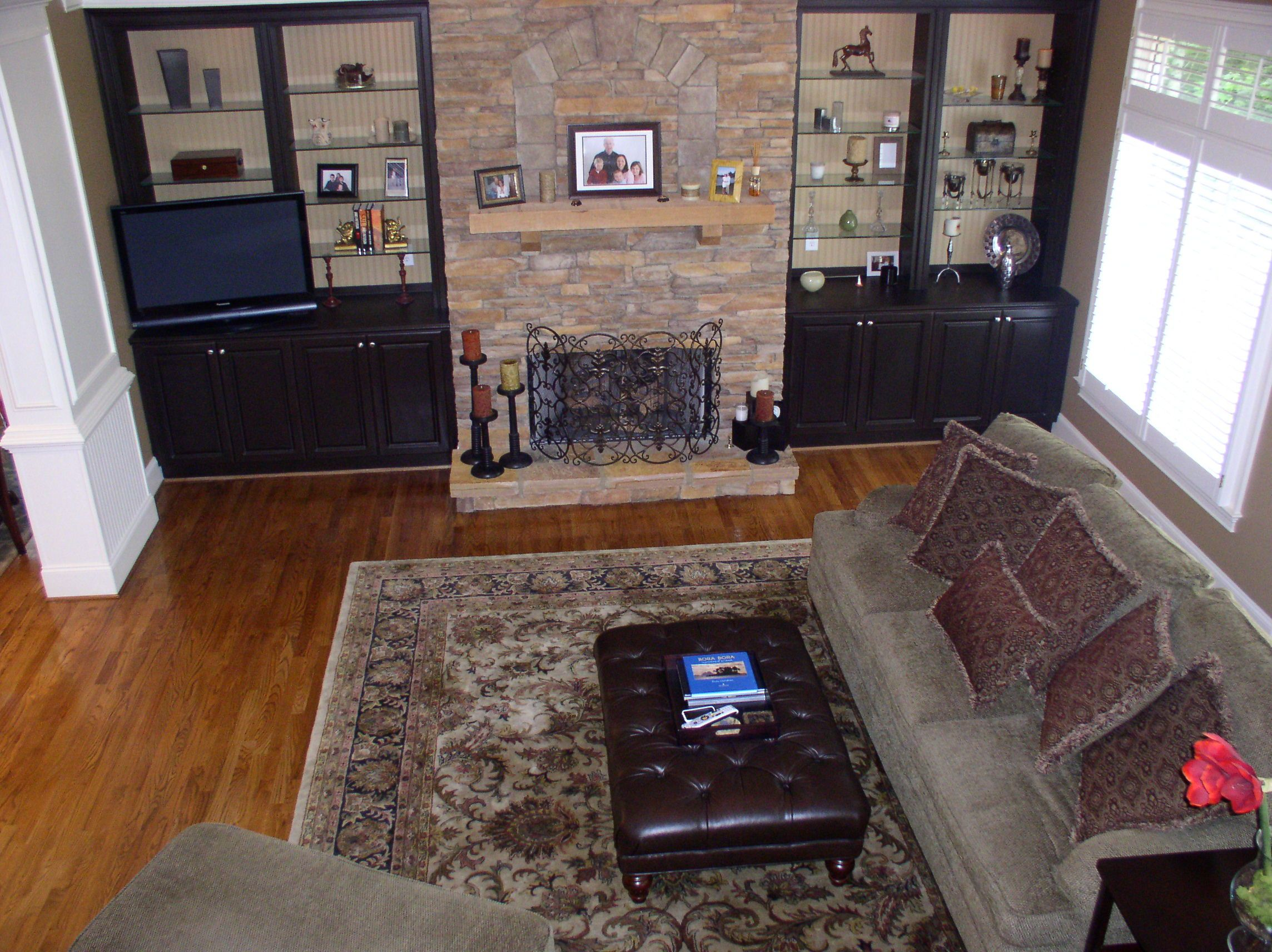 Plywood Shelves Around Gas Fireplace
