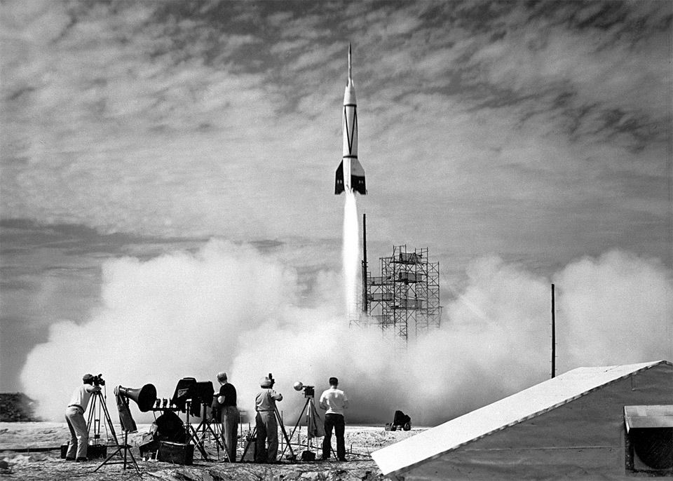 The first rocket launch from Cape Canaveral in 1950.