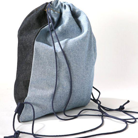 Gym bag backpack bag Jeans gym sack drawstring bag by WTFbags ...