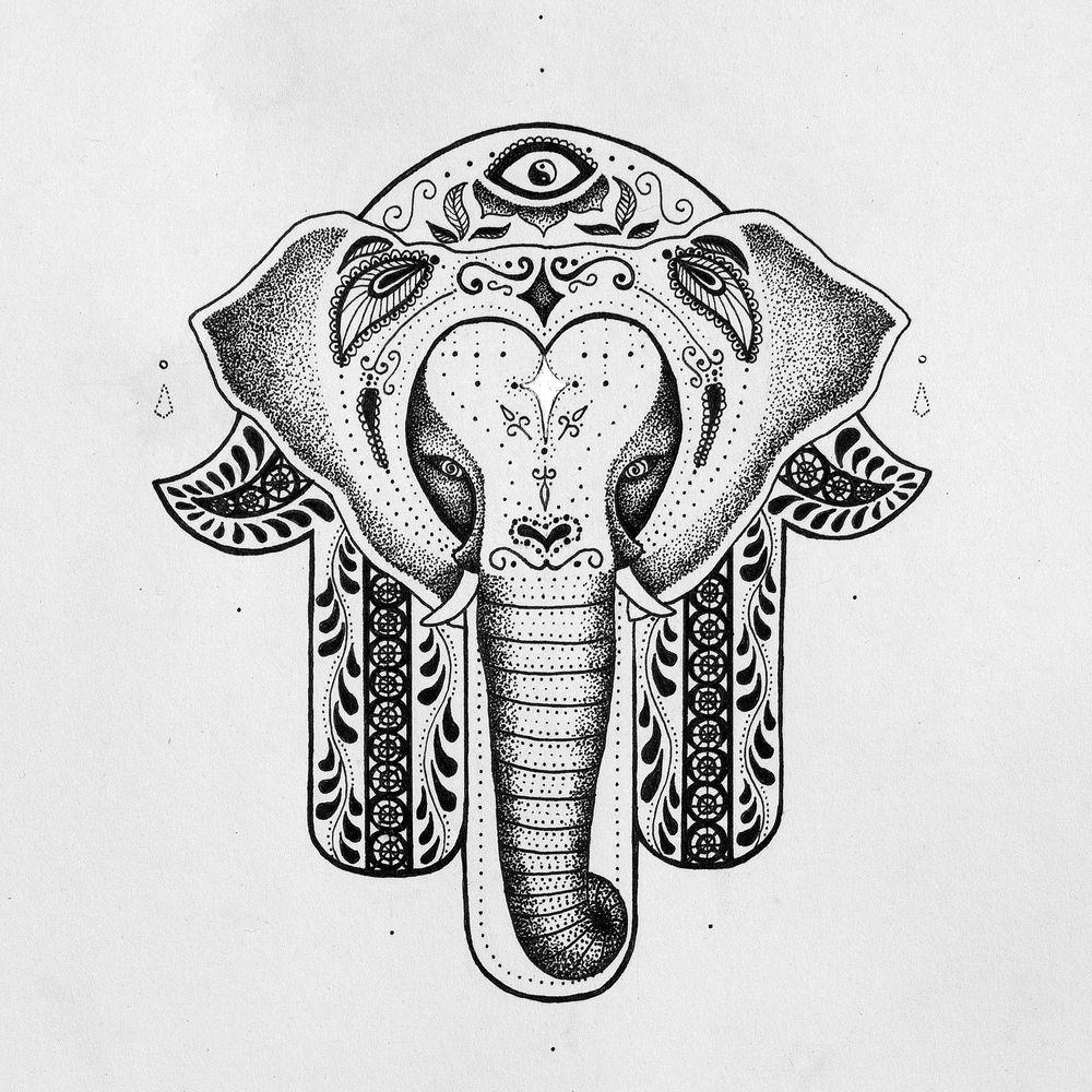 Elephant hamsa tattoo design sketch coloring page for Hamsa elephant tattoo
