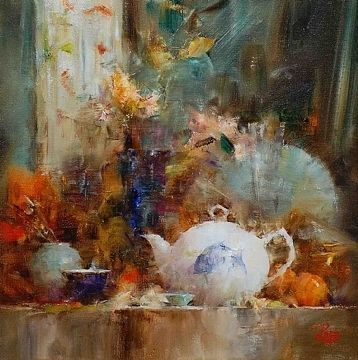 Shelf With Fish Teapot By Laura Robb Oil 11 X